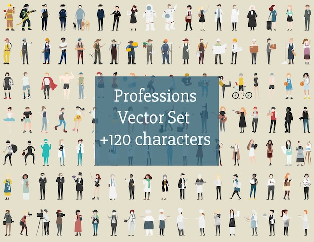 Vector set di persone illustrate Vettore gratuito