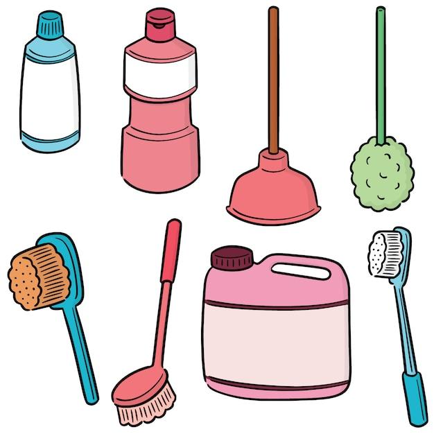 Vector set di servizi igienici più puliti Vettore Premium