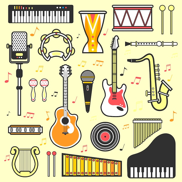 Vector set di strumenti musicali Vettore Premium