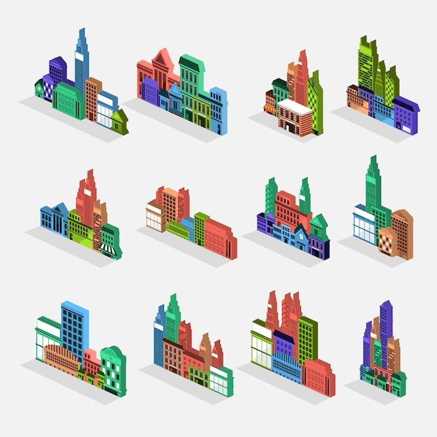Vector set edificio della città Vettore Premium