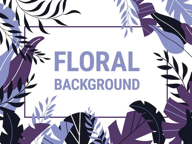 Vector sfondo botanico con foglie tropicali su bianco. Vettore Premium