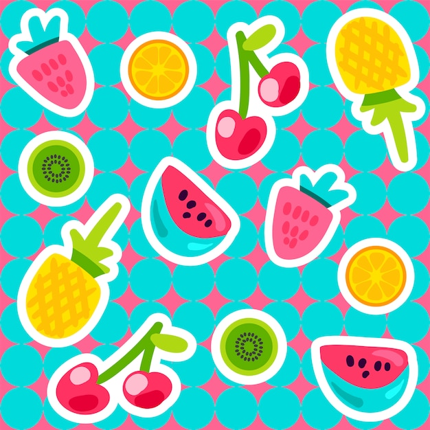 Vector summer fruits pattern in stile cartone animato Vettore Premium