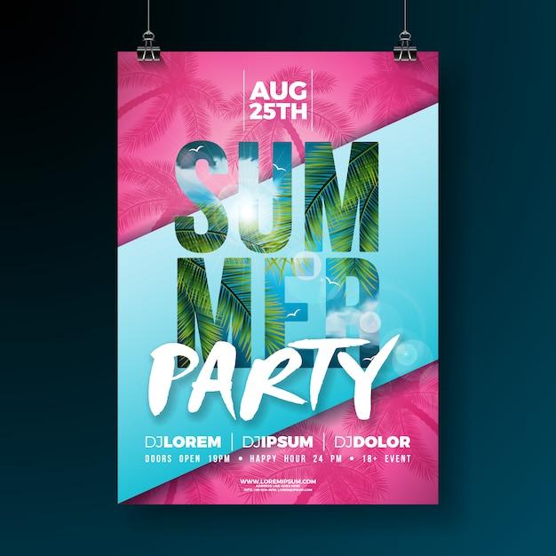 Vector summer party volantino o poster modello design con foglie di palme tropicali Vettore Premium