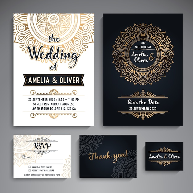 Vector wedding cards elementi decorativi d'epoca con mandala Vettore gratuito
