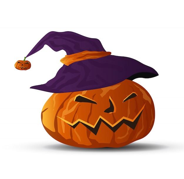 Vector zucca di halloween con cappello streghe  05652f6d6051