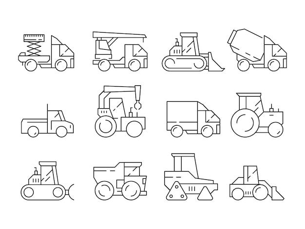 Veicoli da costruzione. macchinario pesante per i camion dei costruttori che sollevano i simboli lineari del bulldozer della gru isolati Vettore Premium