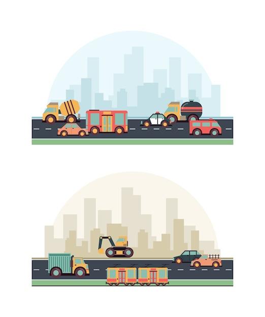 Veicoli urbani. le costruzioni e le macchine differenti del combustibile su strada hanno colorato il fondo piano di paesaggio urbano Vettore Premium