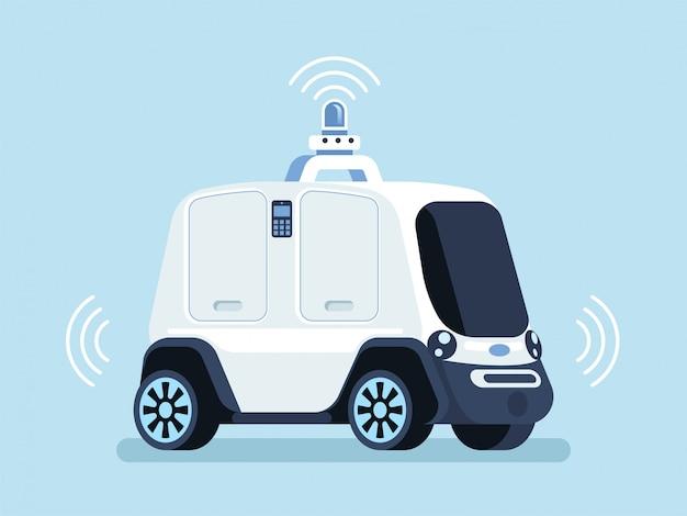 Veicolo a guida autonoma per fornire lo sfondo della pizza Vettore Premium