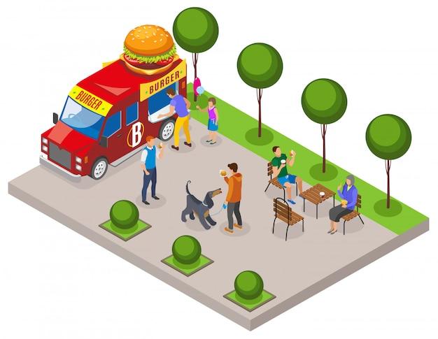 Veicolo di cibo di strada con commercio di hamburger con area clienti per mangiare composizione isometrica Vettore gratuito