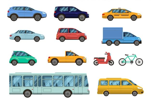 Veicolo di trasporto. auto pubbliche, taxi, autobus urbani e moto, bici. trasporto pubblico urbano su strada, set di raccolta vista laterale auto Vettore Premium