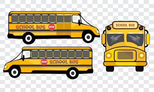 Veicolo scuolabus lato diverso. Vettore Premium