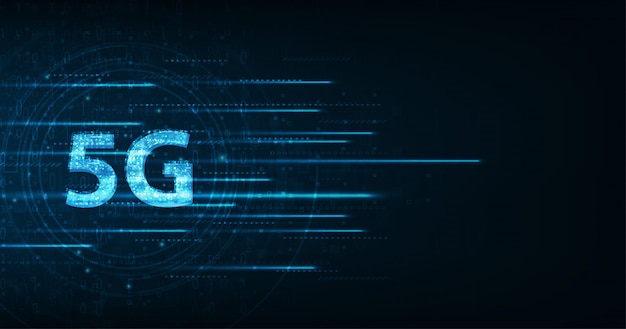 Velocità di trasmissione dati ad alta velocità della connessione globale della rete sfondo scuro Vettore Premium