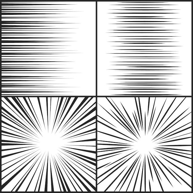 Velocità linee movimento striscia manga fumetto orizzontale Vettore Premium