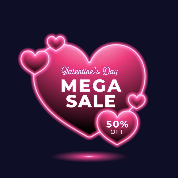 Vendita al neon di san valentino Vettore Premium