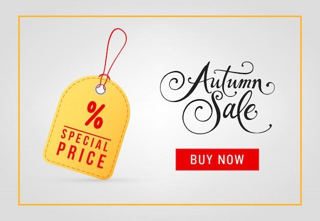 Vendita autunnale, acquista ora, lettering prezzo speciale con tag Vettore gratuito