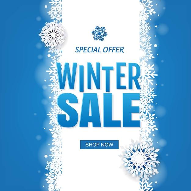 Vendita bandiera blu invernale con fiocchi di neve bianchi Vettore Premium