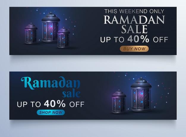 Vendita banner o vendita poster per festival di eid mubarak Vettore Premium