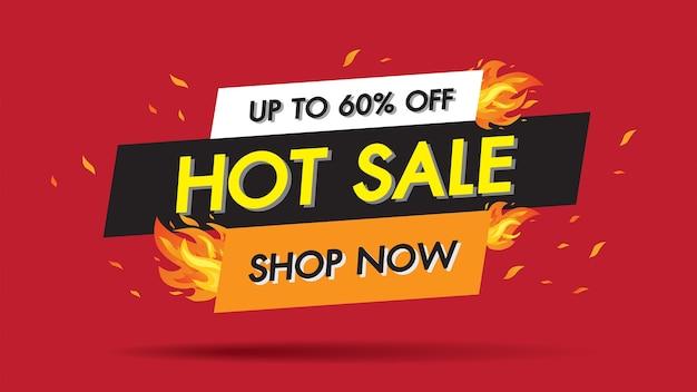 Vendita calda fire burn modello banner concetto, offerta speciale 60% di vendita grande Vettore Premium