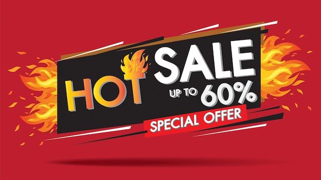 Vendita calda fuoco bruciare modello banner design concept, offerta speciale 60% di vendita grande. Vettore Premium