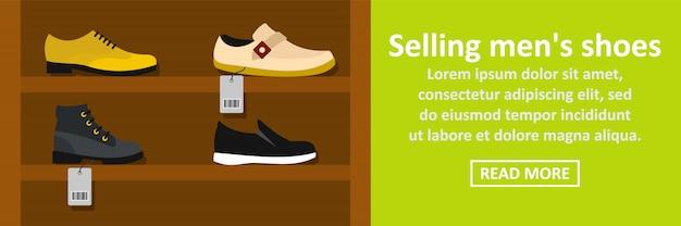 Vendita concetto orizzontale dell'insegna delle scarpe degli uomini Vettore Premium