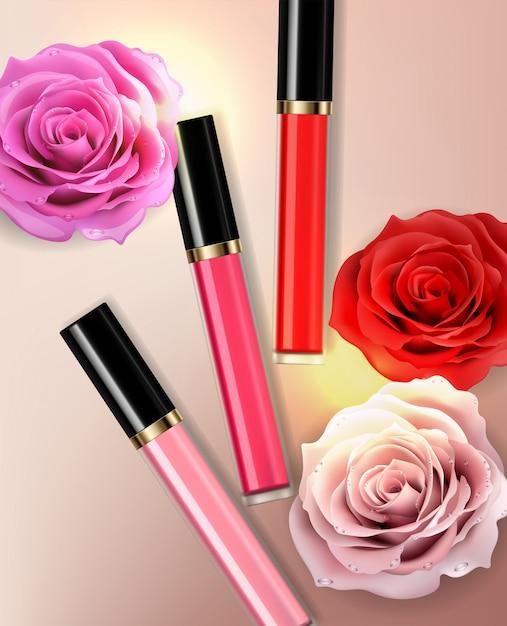 Vendita cosmetici lucidalabbra Vettore Premium