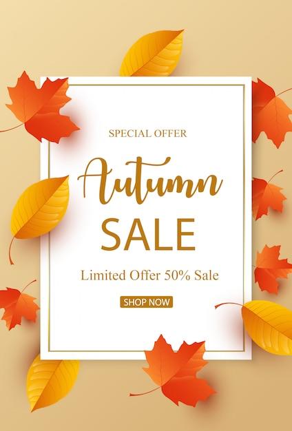 Vendita d'autunno con foglie colorate Vettore Premium