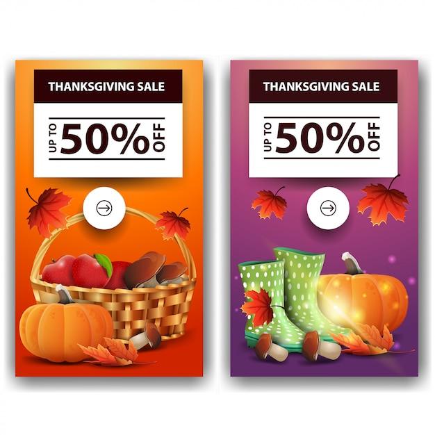 Vendita del ringraziamento, fino al 50% di sconto, due banner sconto verticali. modello di ringraziamento sconto arancione e stampa Vettore Premium