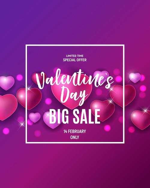 Vendita di amore e sentimenti per san valentino. Vettore Premium
