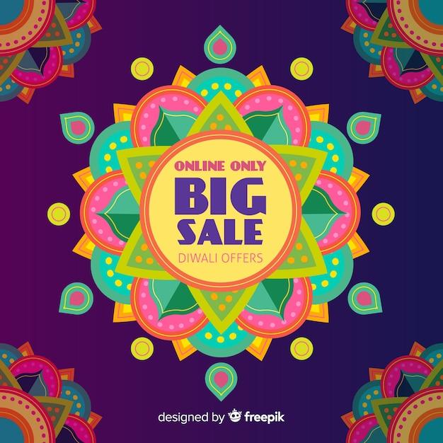 Vendita di diwali piatta con design colorato Vettore gratuito