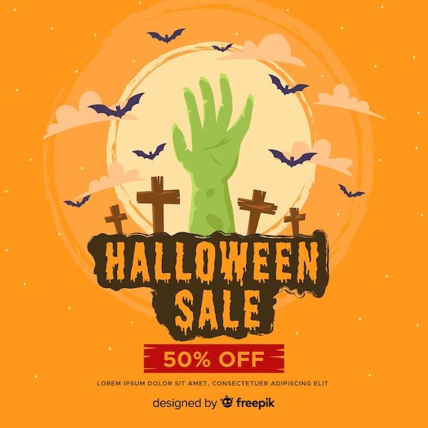 Vendita di halloween piatto con mano di zombie Vettore gratuito