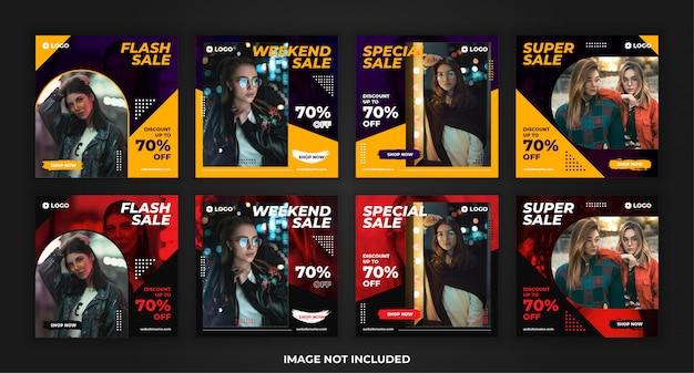 Vendita di moda banner quadrato per pacchetto modello post promozione social media Vettore Premium
