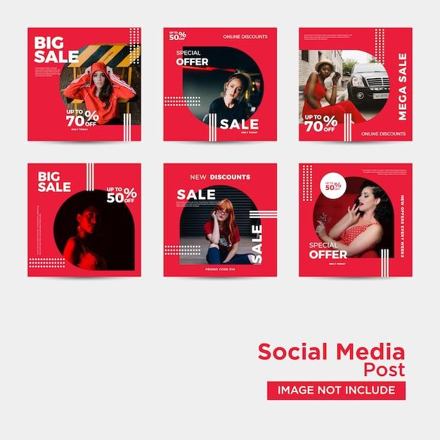 Vendita di moda per i social media Vettore Premium