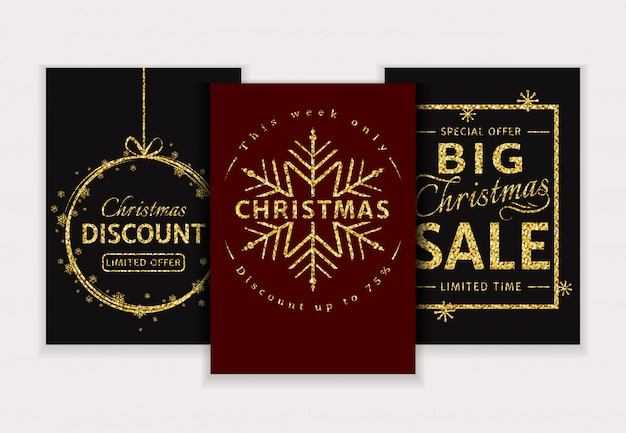 Vendita di natale. set di banner glitter. Vettore Premium