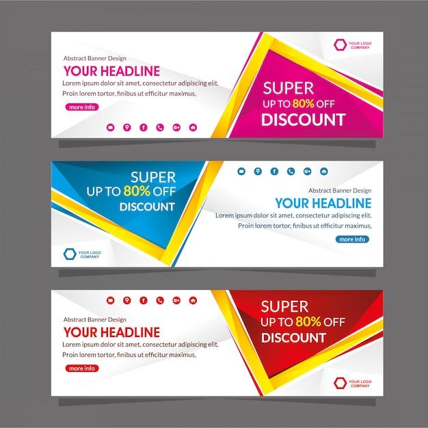 Vendita di offerta di sconto speciale del modello di promozione del banner web Vettore Premium
