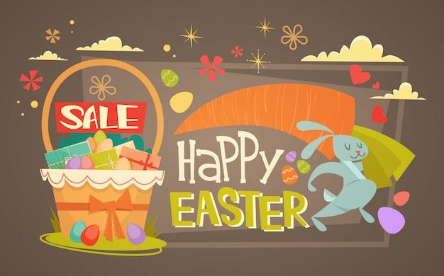 Vendita di pasqua shopping offerta speciale banner per le vacanze Vettore Premium
