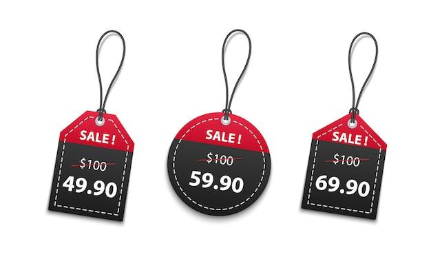 Vendita di prezzi da pagare di carta rossa e nera 3d isolata su fondo bianco Vettore Premium