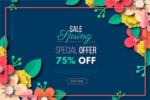 Vendita di primavera colorata in stile carta Vettore gratuito