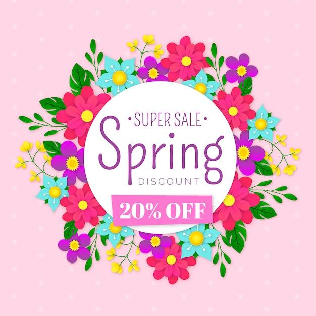 Vendita di primavera colorata in tema di stile di carta Vettore gratuito