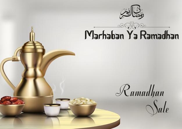 Vendita di ramadhan con caffettiera tradizionale e ciotola di datteri Vettore Premium