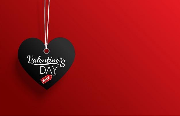 Vendita di san valentino etichetta nera su sfondo rosso Vettore Premium