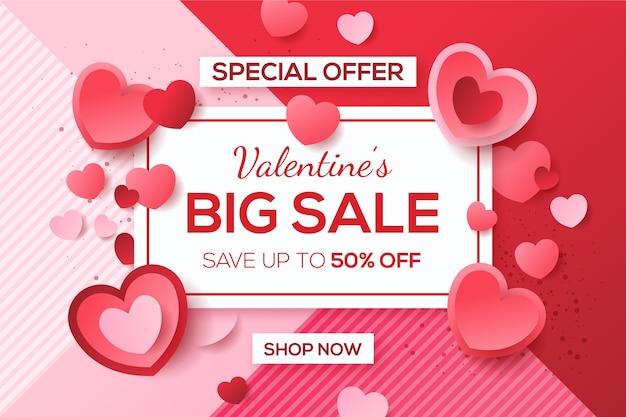 Vendita di san valentino in design piatto Vettore gratuito
