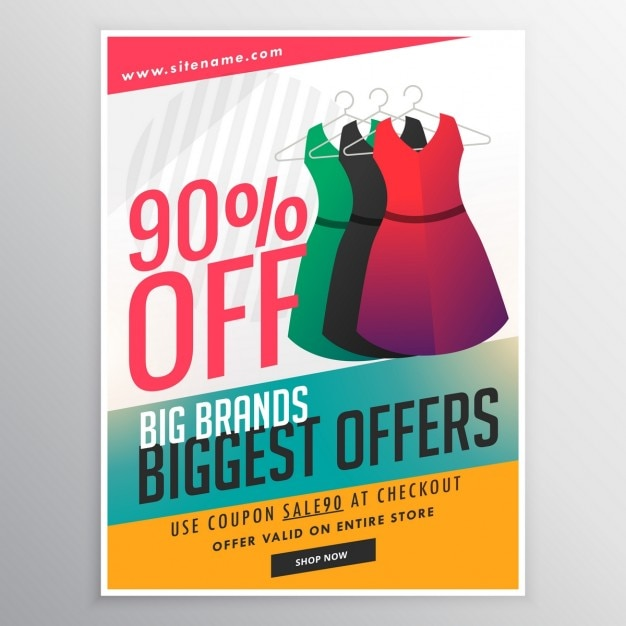 Vendita di sconto moda modello volantino brochure promozionale con l'illustrazione abito e forme colorate Vettore gratuito