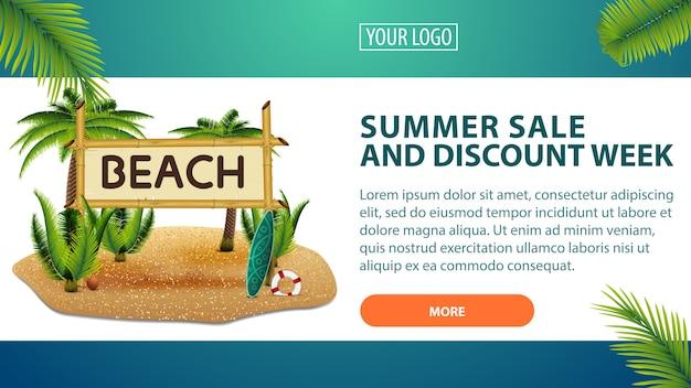 Vendita estiva e settimana sconto, banner orizzontale sconto per il tuo sito web Vettore Premium