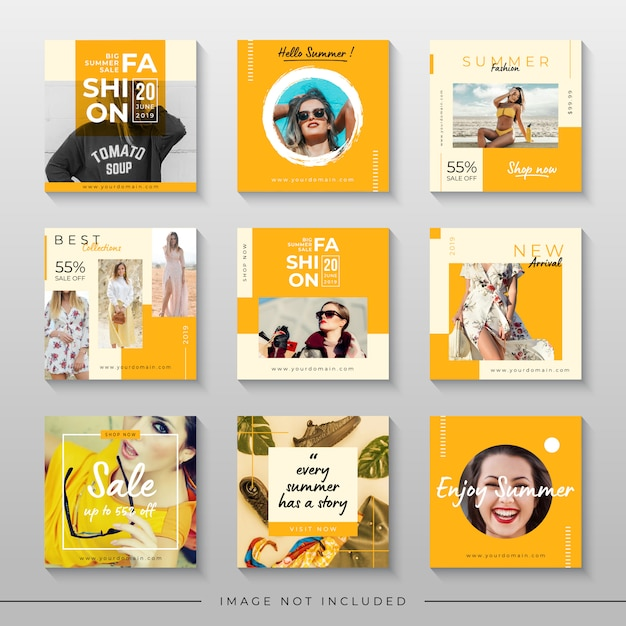 Vendita estiva gialla per modello di post sui social media Vettore Premium