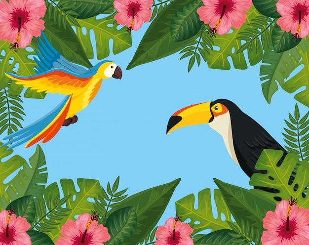 Vendita estiva tropicale con cornice di fiori e animali esotici Vettore gratuito