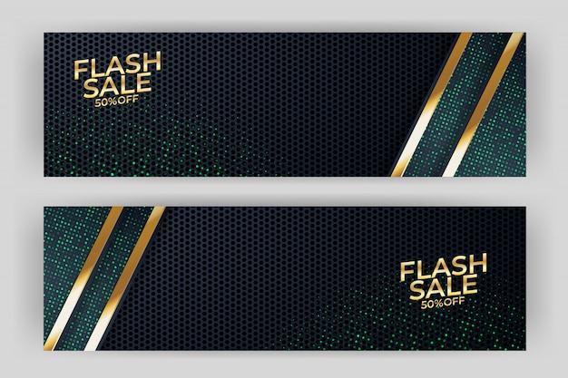 Vendita flash banner sfondo design di lusso Vettore Premium