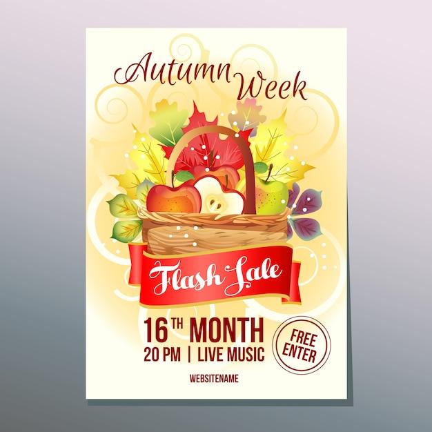 Vendita flash settimana d'autunno con cesto di mele Vettore Premium
