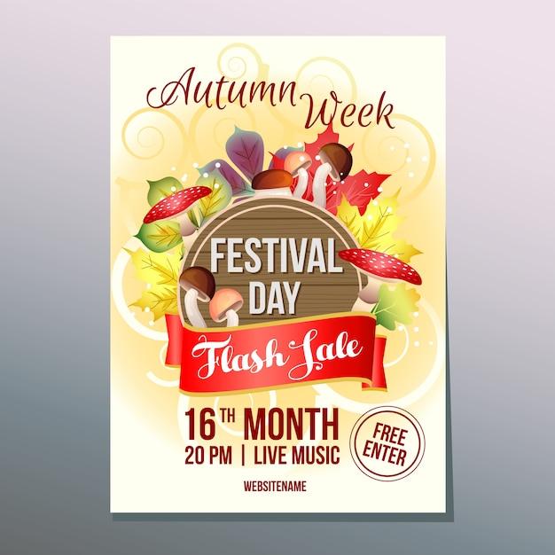 Vendita flash settimana d'autunno con funghi set Vettore Premium