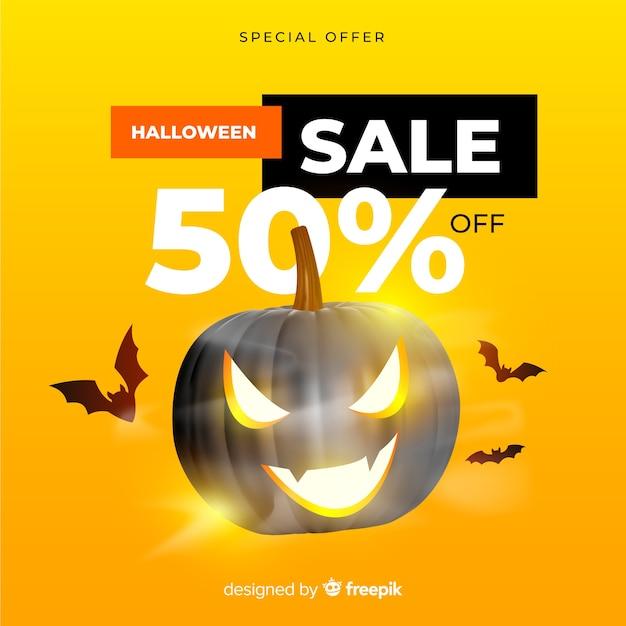 Vendita realistica di halloween su sfondo giallo Vettore gratuito
