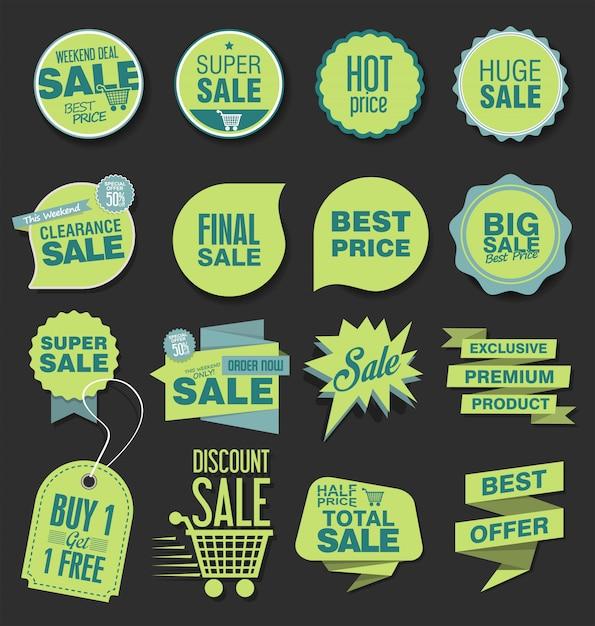 Vendita tag sconto, etichetta o badge design Vettore Premium
